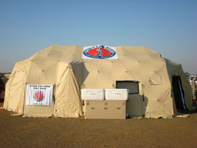 A National Guard public affairs DRASH shelter is set up at Montgomery Field in San Diego during the October 2007 wildfires.
