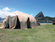 A DRASH TMSS Medium System set up in front of Sugarloaf Mountain in Rio de Janeiro.