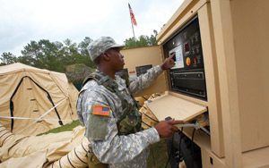 Soldier using Intelligent Power Technology touch screen.